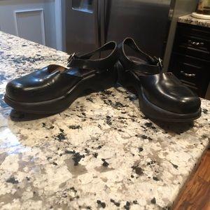 Dansko Black Leather SAM platform sandals 40